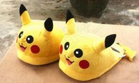 Wholesale Poke mon Pikachu Plush Slippers Cartoon Pocket Monster Stuffed Slippers Soft Warm Home House Slippers Anime Indoor Shoes
