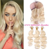Cheap #613 Peruvian Body Wave 360 Lace Frontal With Bundles Platinum Blonde 360 Degree Lace Band FrontaL Closure With Baby Hair Bleached Knots