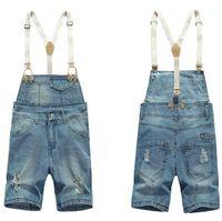 bib cargo shorts - Shorts Denim Bib Overalls Men Summer Style Male Denim Jumpsuit Ripped Jeans Coverall Blue Salopette Homme Cargo Pants M XXL