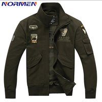 air force eagle - Fall New Brand Men s Bomber Jacket Casual Style Solid Jacket for Men Plus Size Rib Sleeve Air Force Jacket Eagle Embroidery