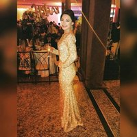 Wholesale Elegant Long Sleeve Gold Sequined Prom Dress Hot Sexy Backless Mermaid Prom Dresses Special Occasion Party Gown
