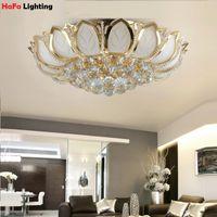 Wholesale Lotus Flower Modern crystal ceiling light Top K9 crystal Balls ceiling light bedroom living room crystal light Ceiling