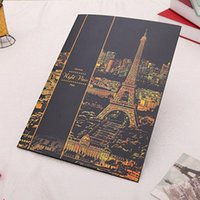 Wholesale Night View Famous City Paris Drawing Scratch Painting Paper Gold Scratch Pen STA
