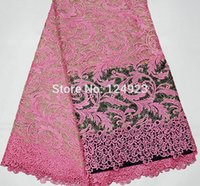 background borders - Pink color special cobweb background African cord lace fabric guipure french lace with big borders yards