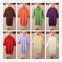 angora wool for knitting - 2016 women autumn and winter white turtle neck short sleeve fluffy angora rabbit fur pullover slim cashmere knitted sweater for women