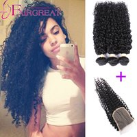 Wholesale High Quality A Brazilian Curly Hair With Closure Bundles Unprocessed Curly Hair With Closure Brazilian Human Hair With Closure Products