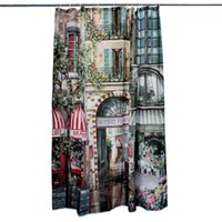 Wholesale Vintage Polyester Bathroom French Street Heavy Duty Shower Curtains European x200cm Fashion Patterns With White Hooks