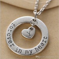 ancient names - Couple loving guardian Forever in my heart Pendant Name Initial Letter Short Clavicle necklace Ancient silver necklace