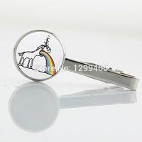 arts humor - Independent original design Men Necktie Tie pin Vomiting Unicorn Rainbow Fantasy Humor Weird art picture Tie Clips T