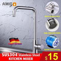 Wholesale Brand new SUS304 stainless steel kitchen faucet stainless steel sink faucet kithchen mixer single handle single hole mixer with SUS304 h