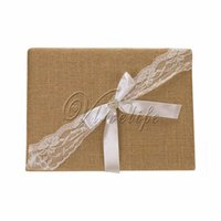 Wholesale Burlap Wedding Guest Book with Lace Satin Ribbons Bow Rhinestone Buckle for Bridal Birthday Party Reception Wedding Favors Decorations