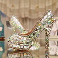 ab ladies - AB Crystal Heels Luxury Diamond Platform Bridal Pumps Wedding Shoes Lady Sparkling Prom Party Shoes Mother of Bride Shoes