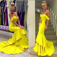 Wholesale Long Mermaid Prom Dresses Off The Shoulder Tiered evening Yellow Formal Party Gowns robe longue femme soiree mariage