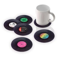Wholesale 6PCS Vinyl Coaster Groovy Record Cup Drinks Holder Mat Tableware Placemat
