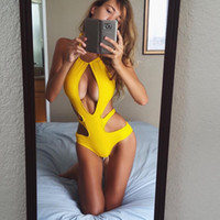 Wholesale One Piece Swimsuit Summer Style Women High Cut Halter Bandage Swimwear Sexy Yellow Hollow Out Monokini Maillot De Bain