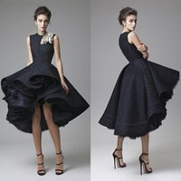Wholesale High end Evening dress luxury black lace collar hand flower dress formally dovetail new short after long before dress PROM dress