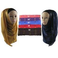 Wholesale pieces viscose Satin Gold Border muslim Scarf Scarves islamic Hijab QK011