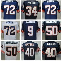 Wholesale Men s William Walter Payton Dick Butkus Gale Sayers Gale Sayers Jim McMahon Mike Singletary Perry Throwback T Shirts jersey Stitched