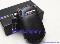 Wholesale 1pcs auto truck vehical Car Black M M performance power Genuine Leather M Remote Key Bag Case Holder Cover For BMW