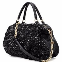 Wholesale Fashion Famous Designer Women Clutch Dazzling Sequins Glitter Sparkling Handbag Women Luxury PU Leather Shoulder Tote Bags