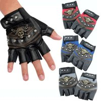 Wholesale Men s Studded Faux Leather Mesh Punk Gothic Hip hop Fingerless Skull Gloves sports use fitenss use outdoor use gloves