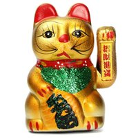 Wholesale Electric Ceramic Gold Chinese Wealth Waving Lucky Feng Shui Fortune Money Cat Paw Beckoning Home Hotel Restaurant Decor Craft