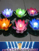 Wholesale Lotus Flowers Lighting Decoration - Artificial LED Floating Lotus Flower Candle Lamp With Colorful Changed Lights For Wedding Party Decorations Supplies MYY