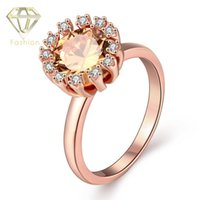 beautiful gold jewellery - Jewelry Trendy K Rose Gold Plated Round Shaped with Beautiful Sunflower Inlaid Cubic Zirconia Crystal Rings Fashion Jewellery