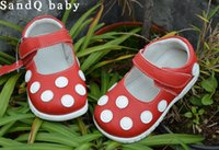 Wholesale girls shoes genuine leather red white spring autumn mary jane with white polka dots for kids retail