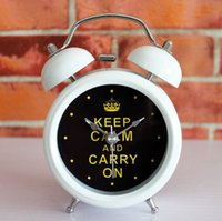 bell quotes - KEEP CALM AND CARRY ON Inspirational quotes WWII metal bell clock home decoration study iron clock with backlights table decor