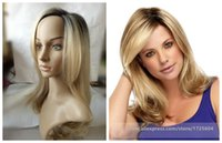 Wholesale New Trendy Blonde Ombre Two Tone Hair Wigs Black Roots Synthetic Cabelo Celebrity Hairstyle Wigs Natural Look None Lace Wigs for Women