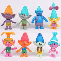 Wholesale 8 Style Sets Trolls Poppy Branch The Good Luck Trolls action figures new Children cartoon PVC minifigures toys inch E1723