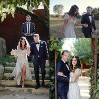 beaches california - Stylish California Wedding Dress The Bride Wore A Reem Acra Wedding Dress Cap Sleeve Side Split Beading Beach wedding gowns Z2011
