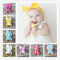 Wholesale 25 Colors Baby Teething Ring Safety Environmental Friendly Baby Teether Teething Ring Wooden Teething training Child Chews Baby Teeth Stick