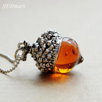 Wholesale New Fashion Antique Bronze Silver Gold Plated Water Drop Glass Acorn Oak Pendant Necklace For Women