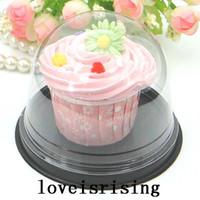 Livraison gratuite-50pcs = 25sets Clear Cupcake en plastique Cake Dome favori boîtes conteneur Wedding Party Décoration gâteau boîte