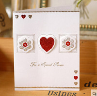 Wholesale Red Lovely Heart greeting card With For The Special Person Words best wishes Greeting Message Cards Gift card for friends