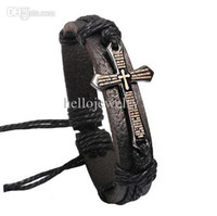 alloy jewelry box - Cross Bible Charm Braided Bracelet Urban Jewelry Handmade Black Genuine Leather Adjustable Wristband retro Jewelry