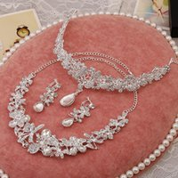 america dragonfly - 2015 Europe and America upscale bridal crystal jewelry sets dragonfly necklace earrings tiara sets