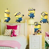 Wholesale NEW minions movie wall stickers for kids room home decorations diy pvc cartoon decals children gift d mural arts posters