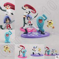 Cheap 2 styles Anime Poke Team Rocket James Meowth Jesse Wobbuffet PVC Action Figure Collectable Model Toy CCA4940 20pcs