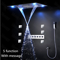 bathroom shower curtains sets - Luxury Bathroom Concealed Shower Set Accessories body jets set Mixer LED Ceiling Shower Head Rain Waterfall curtain