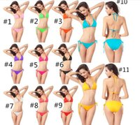 Wholesale 1000sets Colors Free Size Candy Colors Pieces Top and Bottom Women s Sexy Bikini Swimwears Swimsuit Fashion