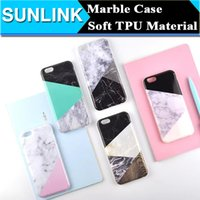 Wholesale Fashion Geometric Mosaic Pattern Marble Phone Case Cover For iPhone Plus S Plus Soft TPU Color Contrast Shell