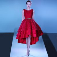 Wholesale Shoulder Straps Sleeveless Tiered Asymmetrical High Low Prom Dress Red Plus Size