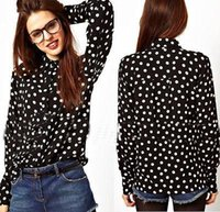 bamboo sleeve stylish - 2014 New stylish Fashion Women Vintage Long Sleeved Polka Dot Shirt womens Blouse Top