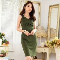 Wholesale XL XL Elegant Slim V neck Sexy Cocktail Dresses Summer Style Plus Sizes Women Clothing Sleeveless Cotton Knitted Short Dress for Party