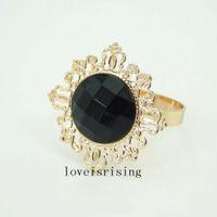 Wholesale 22 Colors Pick Black Gem Napkin Rings Vintage Style Gold tone Metal Rings Wedding Decor Napkin holder