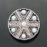 al por mayor jack pearl-Moda KZ1190 Belleza 10pcs Union Jack perla Rhinestone 18MM botones de broche de jengibre para DIY jengibre encaje accesorios de joyería encanto