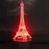 Cadeaux de vacances L'illusion 3D de Tour Eiffel a mené des lumières de nuit 7 lumières féeriques changeables de couleur USB 5V ou AA actionné par batterie DHL libèrent l'expédition